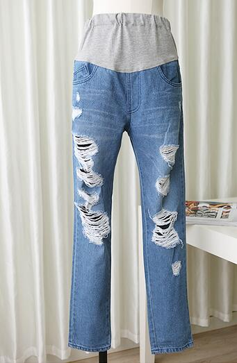 2016 womens Fashion beggar hole Maternity Jeans,female abdominal trousers feet, spring/summer/autumn pencil pants F001<br><br>Aliexpress
