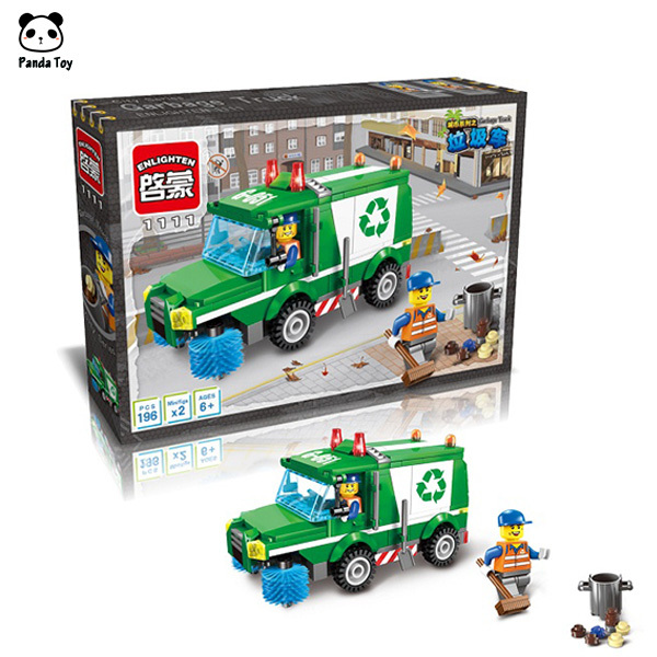 Enlighten 1111 City Serise Garbage Truck Big Action Figures Minifigures Building Blocks Children Toys Compatible With Lego(China (Mainland))