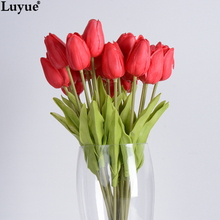 31 pz/lotto Tulipano Fiore Artificiale PU artificiale bouquet Real touch fiori Per Il Matrimonio A Casa fiori decorativi e corone(China (Mainland))