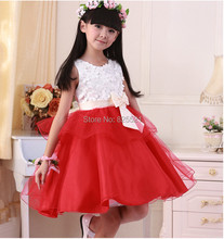 Promotion Retail 2014 High Quality Girl Sleeveless Princess Dress Baby Flower Girl Dress party dress Tutu Size For 4-12 Years(China (Mainland))