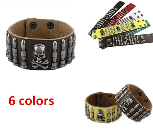Здесь можно купить  12PCS/Lot Fashion New genuine leather width stud bullet bangle bracelets for men 4 colors free shipping wholesale  Ювелирные изделия и часы