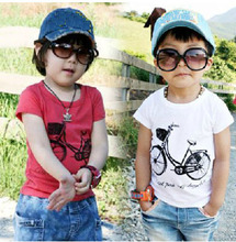 Cotton Size90~130 children t-shirts for kids tops tees child clothing boys short sleeve summer t shirts  bicycle(China (Mainland))