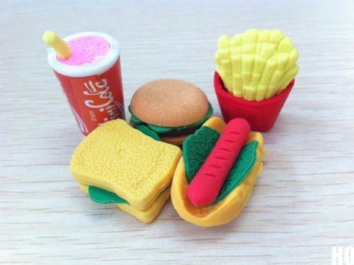 Гаджет  New 2014  5Pcs Lovely Fast Food Style Rubber Pencil Eraser Students Stationery Toy None Офисные и Школьные принадлежности