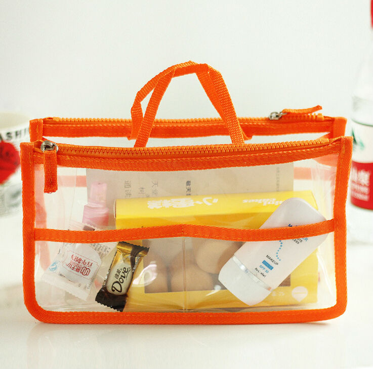 Free Shipping Fashion Jelly Plastic Transparent Organizer Bags Cosmetic Bags Makeup Storage Bags Casual Travel Bags(China (Mainland))