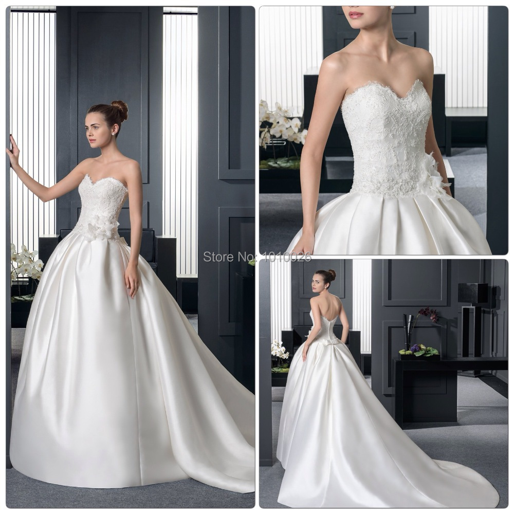 2015 strapless sweetheart lace bodice satin long train for Ball gown wedding dresses with long trains