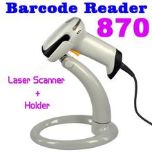 1set USB Bar Code Long Scan Handheld Laser Barcode Scanner Reader 870 + Holder Stand for Automatic Continuous Scan USB RS232 PS2(China (Mainland))