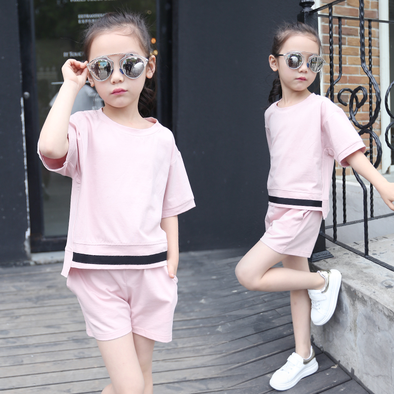 2016 Summer Style Fashion Girls Clothing Sets White T-shirt + Shorts Suit 2 Pcs Clothes Sets For Children Clothing Kids Clothes(China (Mainland))
