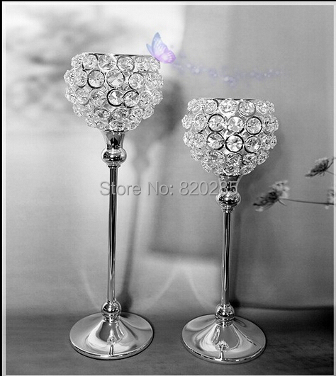 Free shiping metal silver plated candle holder with crystals. wedding candelabra/centerpiece decoration,1 set=2 pcs candlestick(China (Mainland))