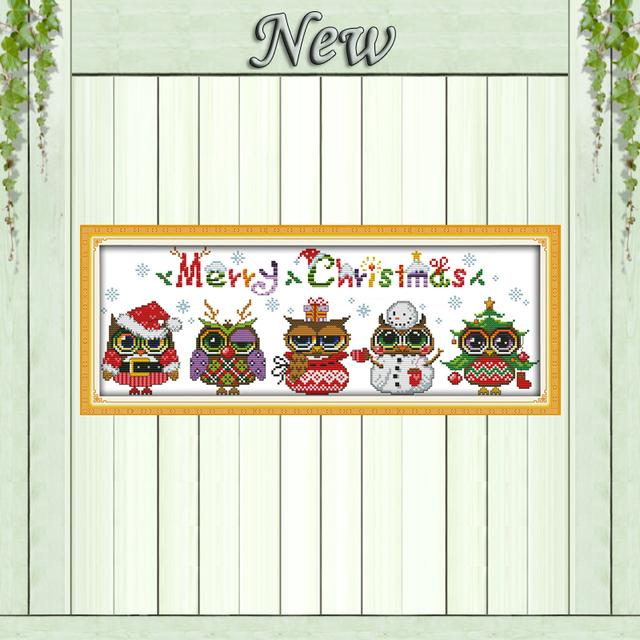 Рождественские совы мультики diy ремесла живописи счетный печать на холсте DMC 11CT 14CT комплект DMS вышивка рукоделия комплект