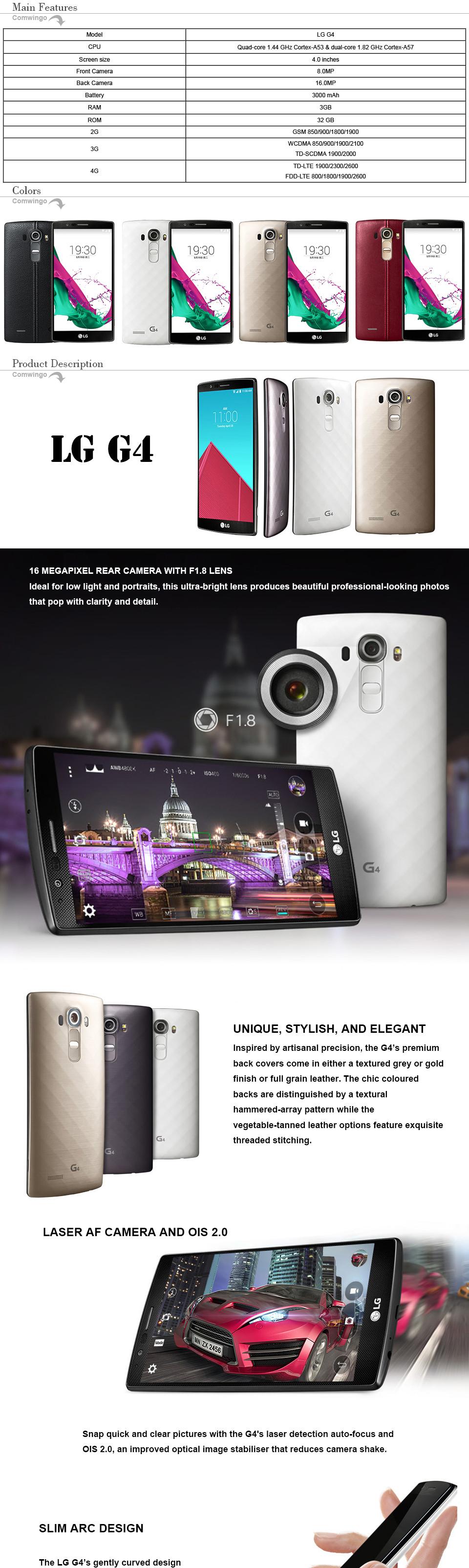 "Original Unlocked LG G4 H815T H811 H810 Quad core 4G LTE 16.0 MP Camera Android 32 GB ROM 5.5"" 1440 x 2560 pixels cellphone"