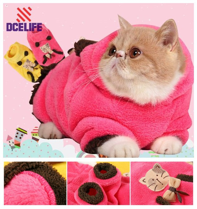 New Design Super Soft Coral Velvet Pet Cat Clothing HFCT01(China (Mainland))