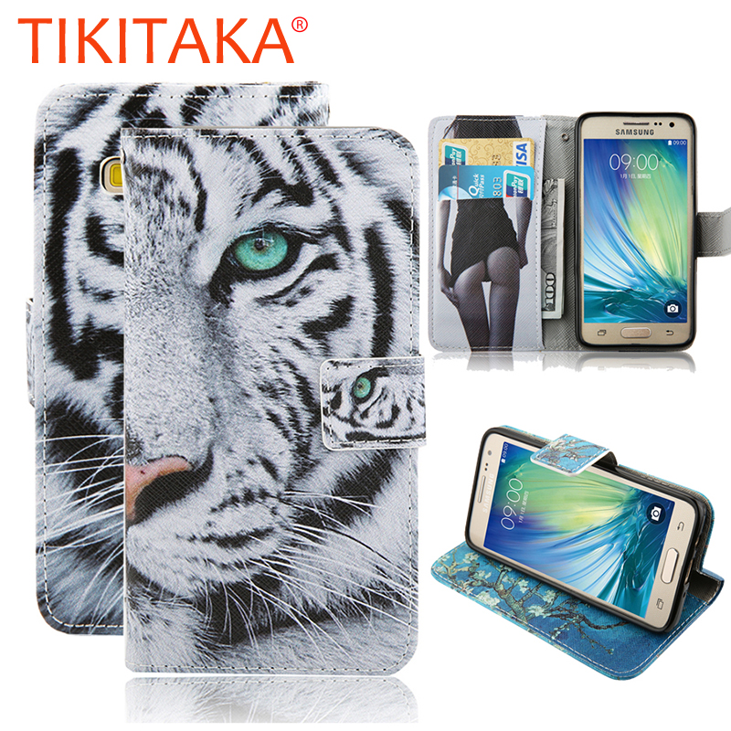 Wallet Case For Samsung Galaxy A3 A5 A7 A8 2015 Cover Fashion Cartoon Tiger Owl Pattern Leather Flip Phone Cases Stand Holder(China (Mainland))