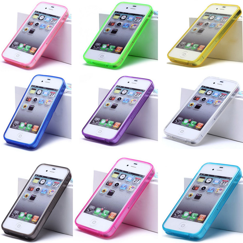 Cover For Apple iphone 4 4s 4G case Silicon GEL Sets Scrub Shell Soft Candy Color Sets China post Free shipping w Tracking code(China (Mainland))