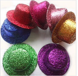 12pcs/lot Free Shipping Hen Party Felt Glitter Mini Top Hat Fascinator Base. DIY Mini hat 13cm hair accessories(China (Mainland))