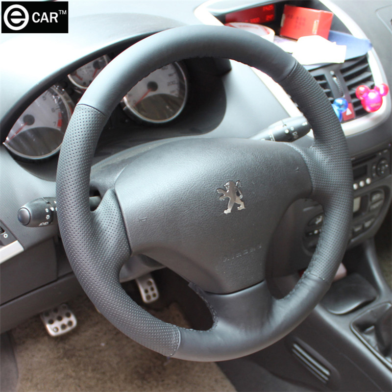 Peugeot 206 (Remark year) sew-on genuine leather steering wheel cover steering-wheel car-cover Fit - eCAR store
