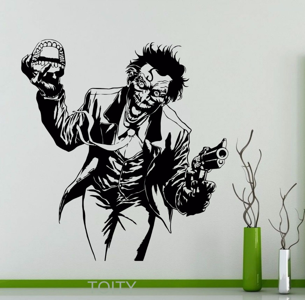 Heath Ledger Joker Wall Sticker DC Marvel Comics Superhero Vinyl Decal Home Interior Decoration Room Art Mural(China (Mainland))