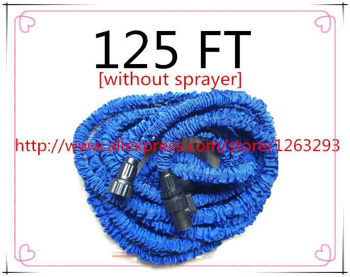 Free shipping expandable 125FT Garden hose reels Stretched 37.5M Water valve blue watering water hose connector[without sprayer](China (Mainland))