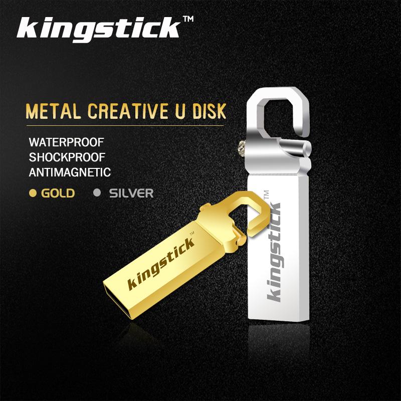 Kingstick waterproof silver/gold metal USB flash drive 32GB 64GB 4GB 8GB 16GB pendrive USB 2.0 pen drive memory flash stick(China (Mainland))