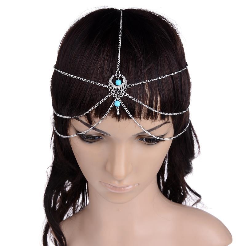 Multi Layer Metal Silver Plated Head Tassel Chain Turquoise Pendant Bindi Boho Headband Hair Jewelry Accesories(China (Mainland))