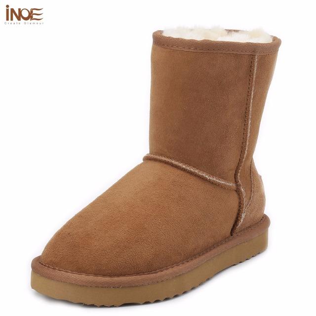 ИНОЕ кожа овчины замши снегоступы для женщин природа мех шерстяной подкладке мужчин зимняя обувь высокого качества коричневый 35-45 бесплатная доставка доставка