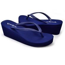Soft Comfortable Wedge Women Flip Flops Sweet Medium Heel Summer Platform Shoes Fashion Lady Anti skidding Beach Shoes Plus Size(China (Mainland))