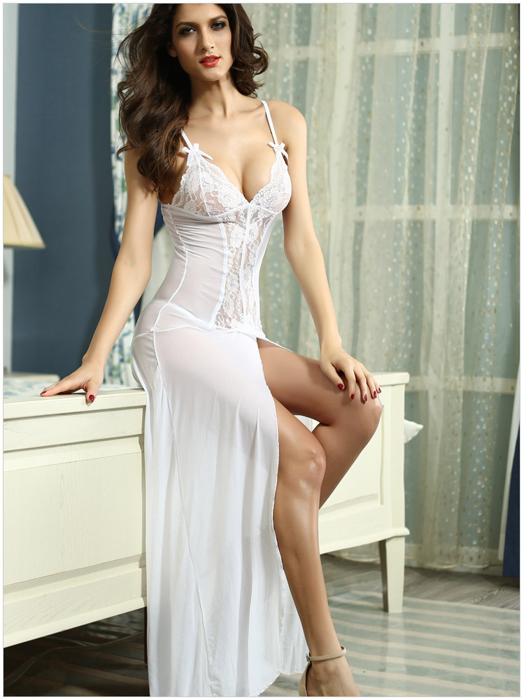 Free Shipping 2015 New Lace Spaghetti Strap Lingerie With Thong DL6143 Free Size Sexy Chemise Long Dress Gown Sleepwear Negligee(China (Mainland))