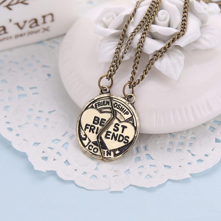 Vintage broken 2 parts bronze Friendship Best Friends coin Necklace –  BFF Accessories jewelry