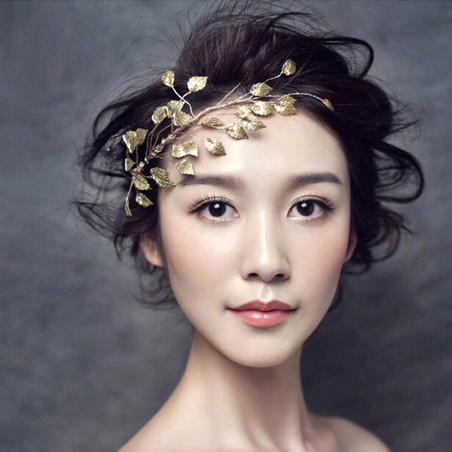 Gold Leaves Haedband Bridal Wedding Hair Accessories Party Hairband Cheveux Noiva Banquet Flower Indian Hair Jewelry Tiara Z0937(China (Mainland))
