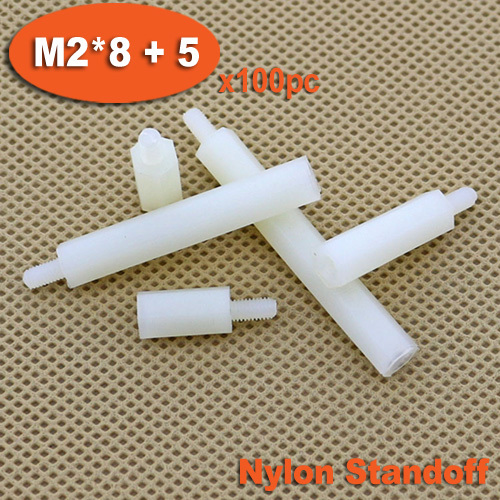 100pcs Male To Female Thread M2 x 8mm + 5mm White Plastic Nylon Hexagon Hex Standoff Spacer Pillars<br><br>Aliexpress