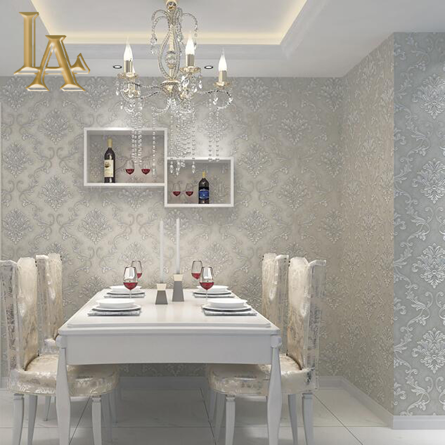 European simple luxury beige grey 3d damask wallpaper for Living room paper