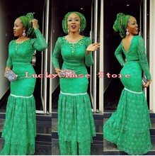 Vestidos De Noche 2016 Nigeria Aso Ebi Green Mermaid Eveing Dresses With Long Sleeves African Backless Mother Of The Bride Gowns