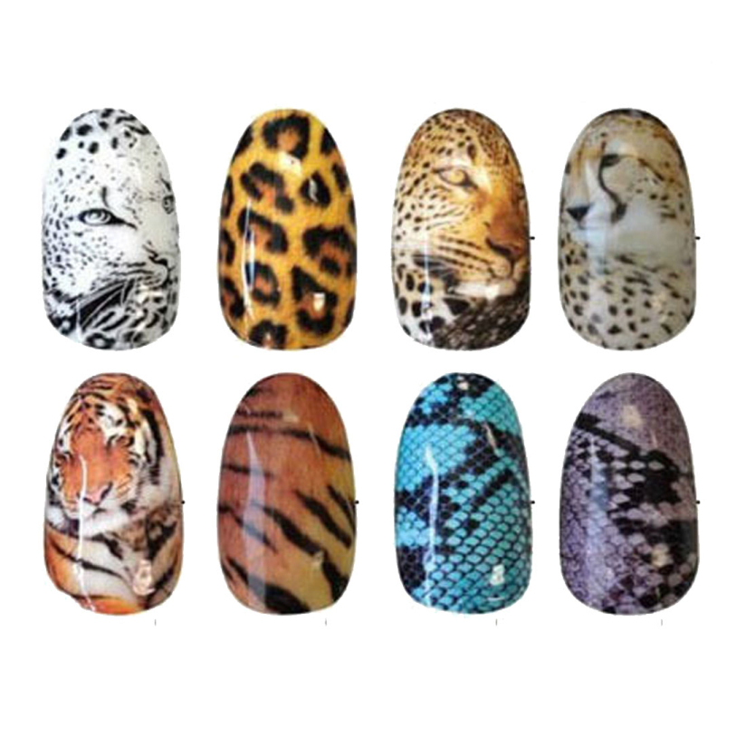Hot Marketing Tiger Snakeskin Colorful Sexy Leopard Pattern Water Decals Transfer Stickers Nail Art Fingernails Decoration tanwc(China (Mainland))