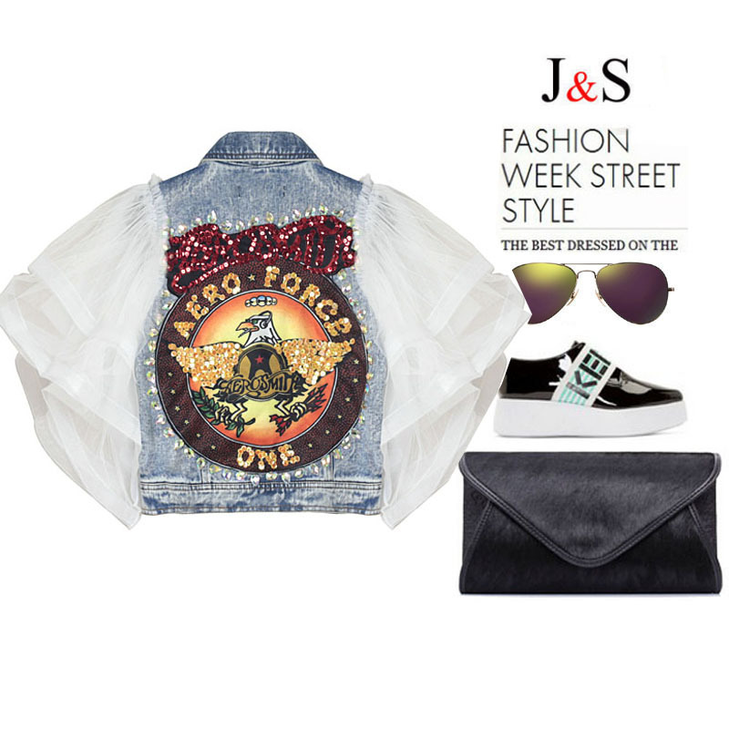 2016 spring fashion brand mesh patchwork butterfly sleeve ripped denim coat for women stylish eagle sequins vintage jeans coat Одежда и ак�е��уары<br><br><br>Aliexpress