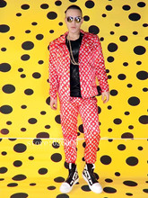 Buy 2017 New Original design fashion Men's jacket costumes nightclub male singer DJ GD red letters printed suits party show stage for $130.00 in AliExpress store