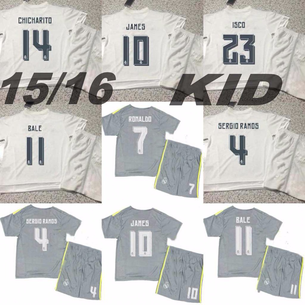 15 16 Real Madrid Boy Jersey Soccer 2015/16 Home kid white Football Shirt Ronaldo James BALE Youth Away gray camisetas de futbol(China (Mainland))