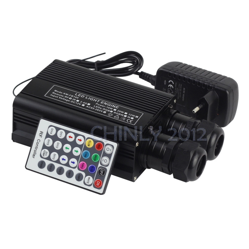 RGBW 32W LED Fiber Optic Engine Driver double head+28key RF Remote controller for all kinds fiber optics(China (Mainland))