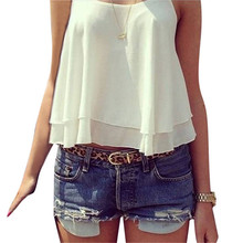 2016 Summer Hot Sale Fashion Tank Crop Tops New Sexy Women Strap Tiered Chiffon See Through Sleeveless Vest 4 Color(China (Mainland))