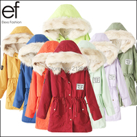 New 2015 Winter Women's Fashion Fur Hooded Zipper Embellished Fleece Inside Military Casual Coat  Colorful Outerwear EF6100