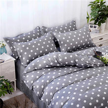 Home Textile Grey bedding star duvet cover set Printed bed sheet +duvet cover +pillowcase Italy bed cover grey dots bedlinen set(China)