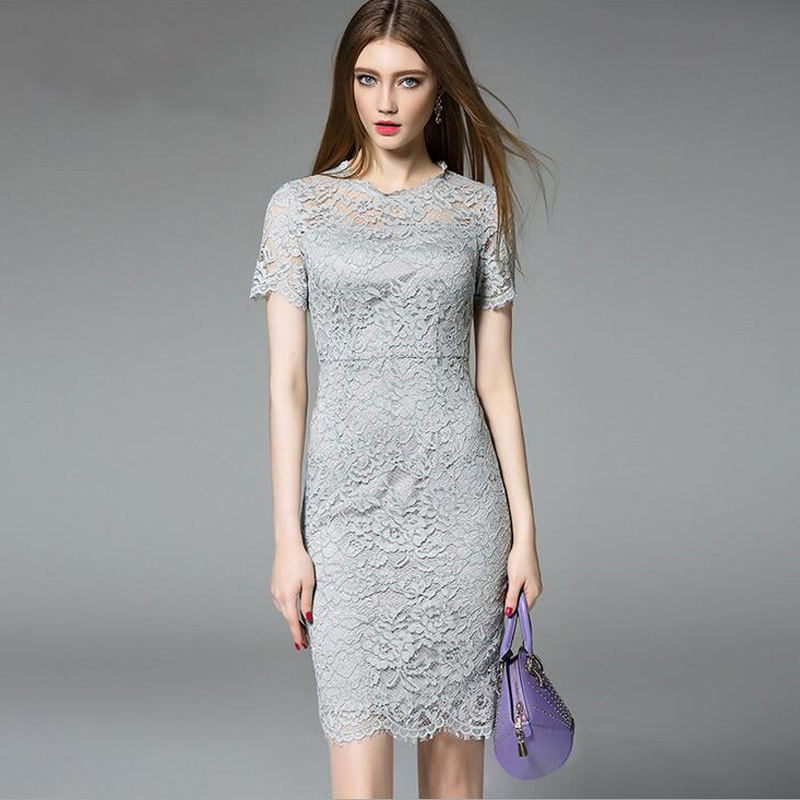 MOOQII 2016 New Arrival Lace Dress Women Crochet Knee-Length Dresses(China (Mainland))