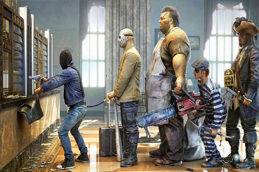 Man With Gun Rob A Bank Funny Fantasy Artwork Fabric Silk Poster Print Picture For Gift 24x36inch(China (Mainland))