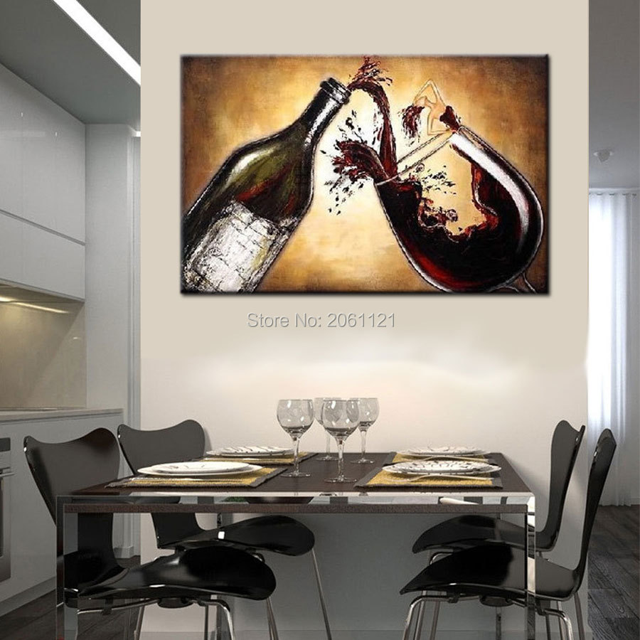 Popular wine oil painting buy cheap wine oil painting lots - Cuadros para cocina modernos ...