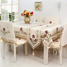 Hot Selling Elegant Large Size 180*360cm Floral Embroidery Tablecloth Satin Embroidered Wedding Table Towel Cloth Cover Overlay(China (Mainland))