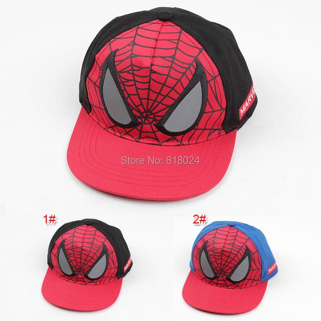 Мальчики и девочки хип-хоп шляпа мультфильм паук фуражке детей летом шляпу детский человек паук регулируемые бейсболки