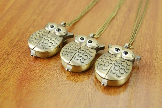 Owl Necklace Watch quartz watch Keychain watch antique bronze Pendant Creative gifts(China (Mainland))