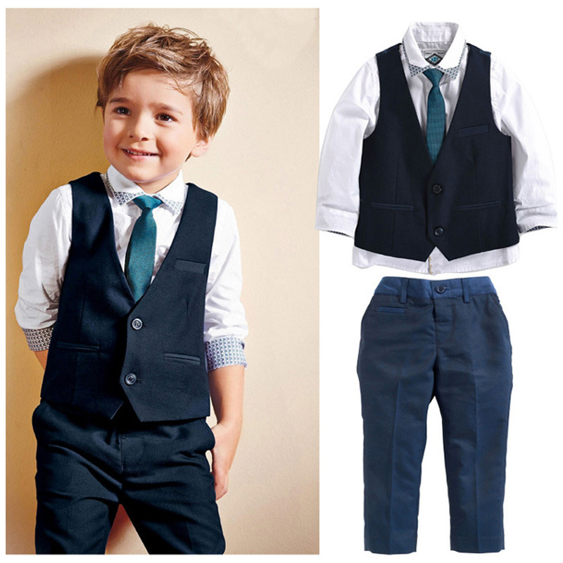 Spring Autumn Boy's Clothing Set Fashion Children Suit Set Shirt + Tie + Vest + Pants Kids 4pcs Clothes Set Costume For Baby Boy(China (Mainland))