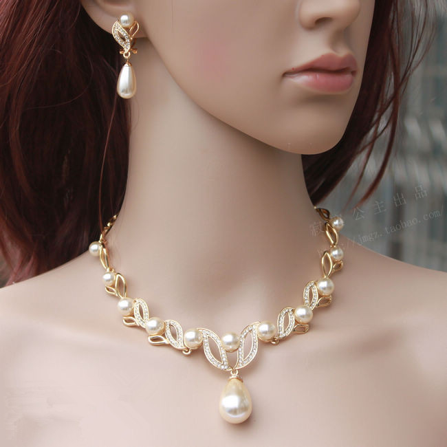 18K Gold Plated Cream Pearl Water Drop Rhinestone Crystal Bridal Necklace Earrings Jewelry Sets - Yiwu Liangqian Accessories Firm (Mini Order>$8 store)