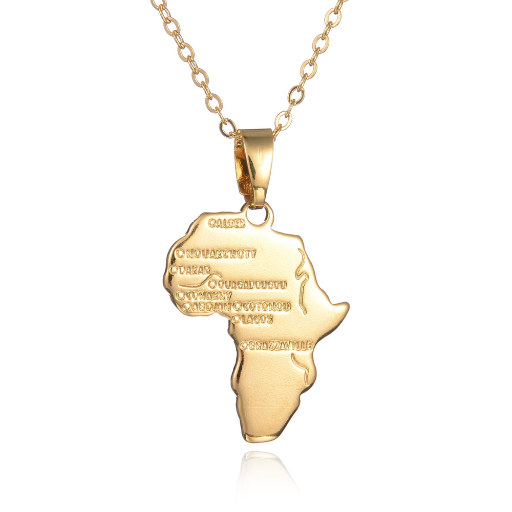 Africa Map Pendant Necklace Women Girl 18K Gold Plated Jewelry Men African Map Hiphop Item Wholesale Ethnic Ethiopia Ciondolo(China (Mainland))