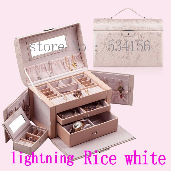Free shipping RU NEW luxury Practical leather jewelry box earrings necklace pendant jewelry display gift packaging box 10 color(China (Mainland))