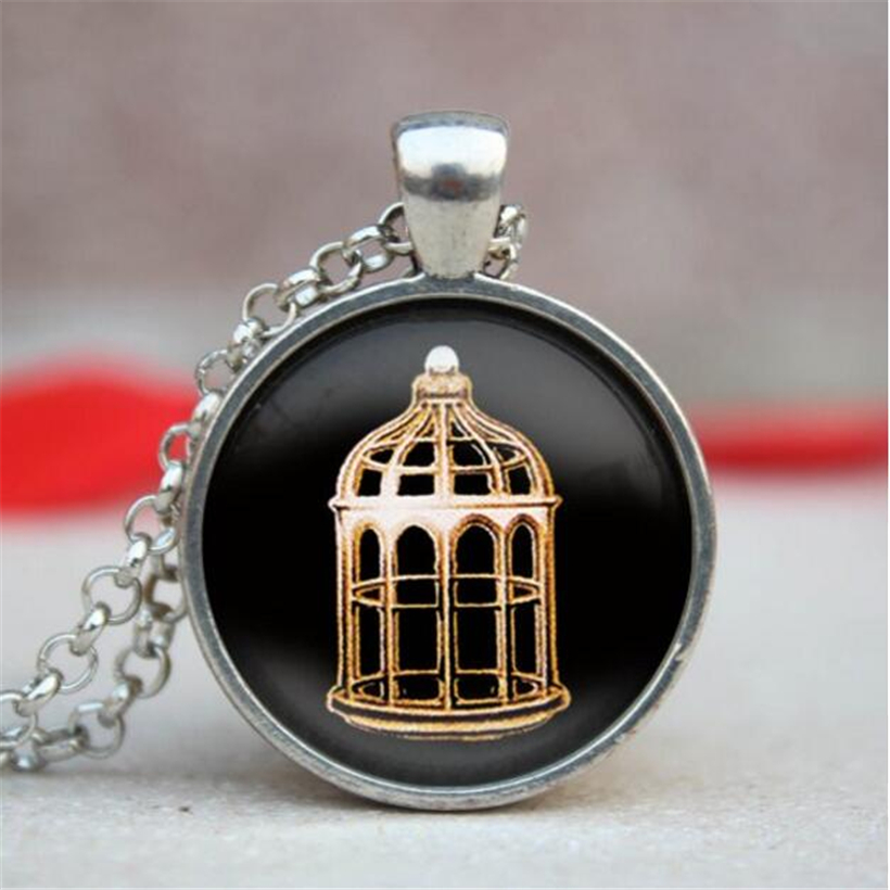 2016 New Bioshock Infinite Bird Cage Pendant Choker Necklace Vintage Glass Dome Print Necklaces & Pendants Glass Jewelry(China (Mainland))
